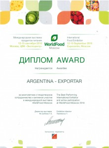 Diploma - Mejor pabellon Nacional